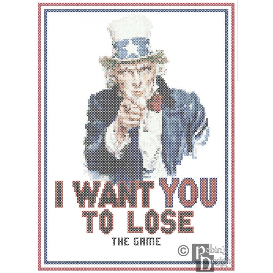 I Want You to Lose The Game Cross Stitch Pattern PDF