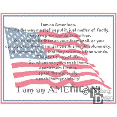 I am an American Cross Stitch Pattern PDF Download