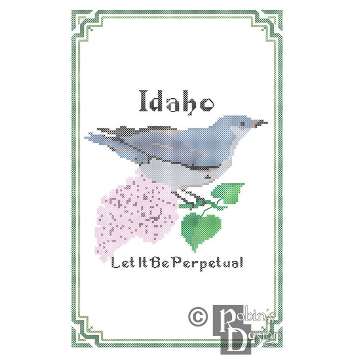 Idaho State Bird, Flower and Motto Cross Stitch Pattern PDF