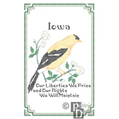 Iowa State Bird, Flower and Motto Cross Stitch Pattern PDF Download