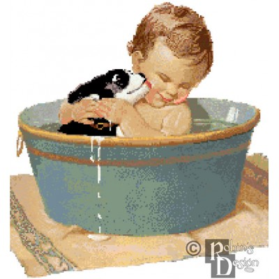 Jessie Willcox-Smith's Baby and Pup in Washtub Cross Stitch Pattern PDF Download