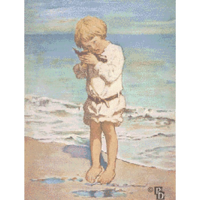 Jessie Willcox-Smith's The Fallen Gull Cross Stitch Pattern PDF