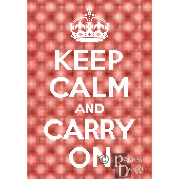 Keep Calm and Carry On Cross Stitch Pattern Easy PDF