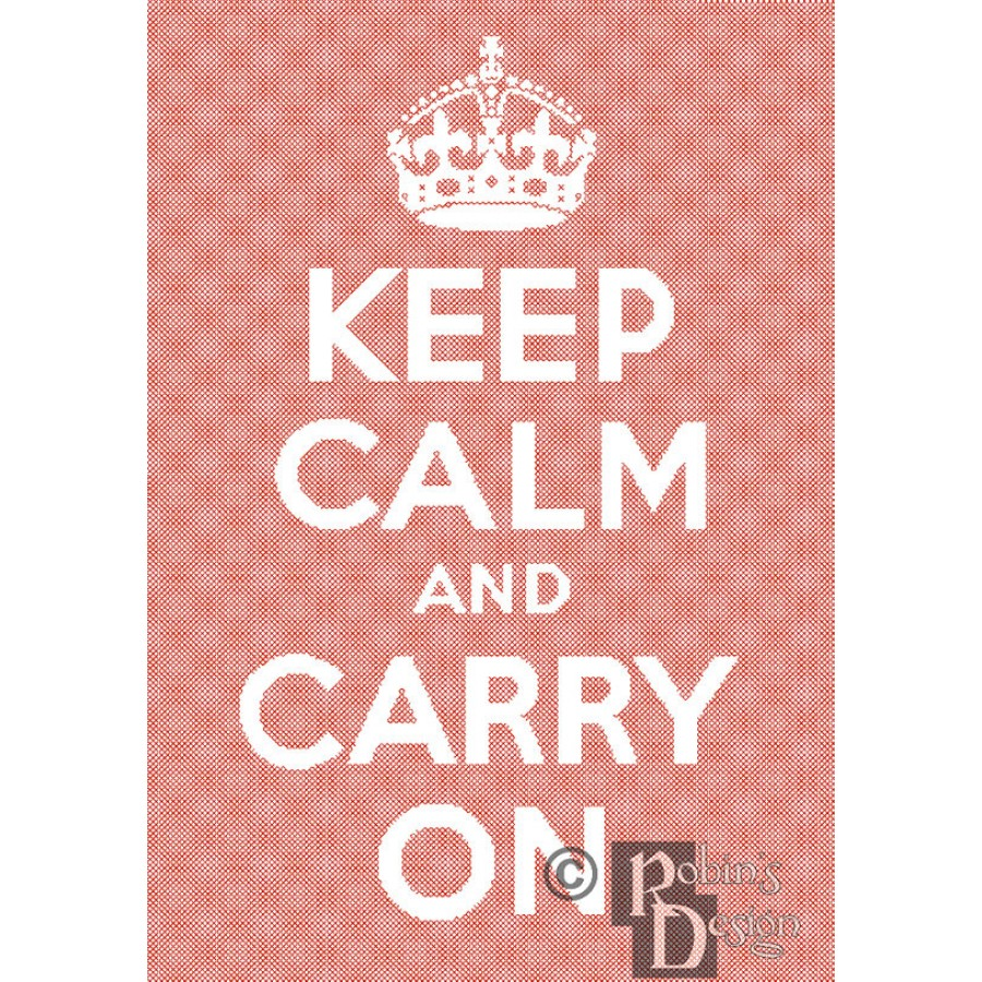 Keep Calm and Carry On Cross Stitch Pattern PDF