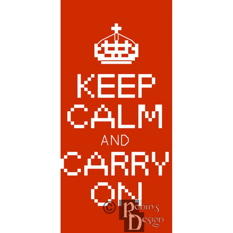 Keep Calm and Carry On iPhone Case Easy Cross Stitch Pattern PDF