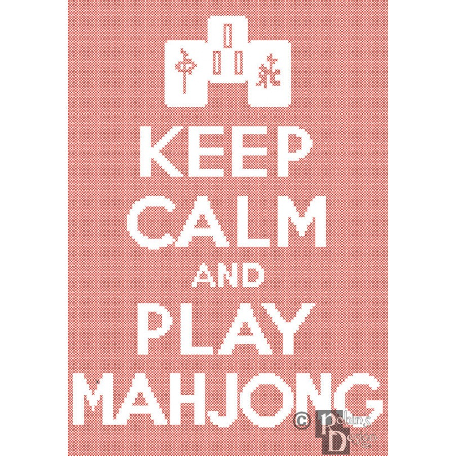 Keep Calm and Play Mahjong Cross Stitch Pattern Easy PDF