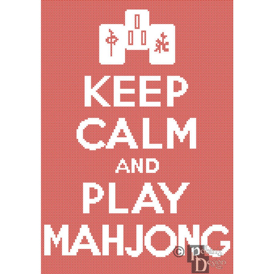 Keep Calm and Play Mahjong Cross Stitch Pattern Easy PDF Download