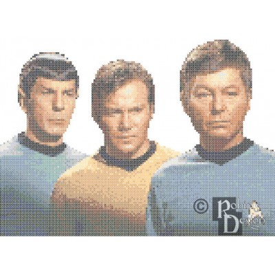 Kirk, Spock and McCoy Star Trek Cross Stitch Pattern PDF