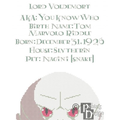Lord Voldemort Biographical Facts Cross Stitch Pattern PDF Download