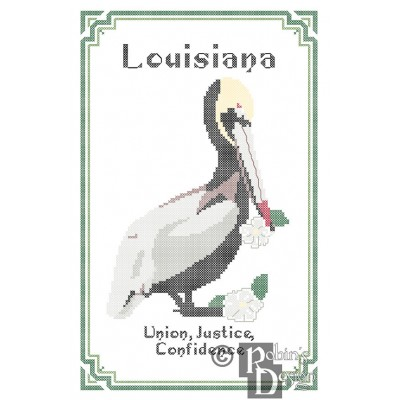 Louisiana State Bird, Flower and Motto Cross Stitch Pattern PDF