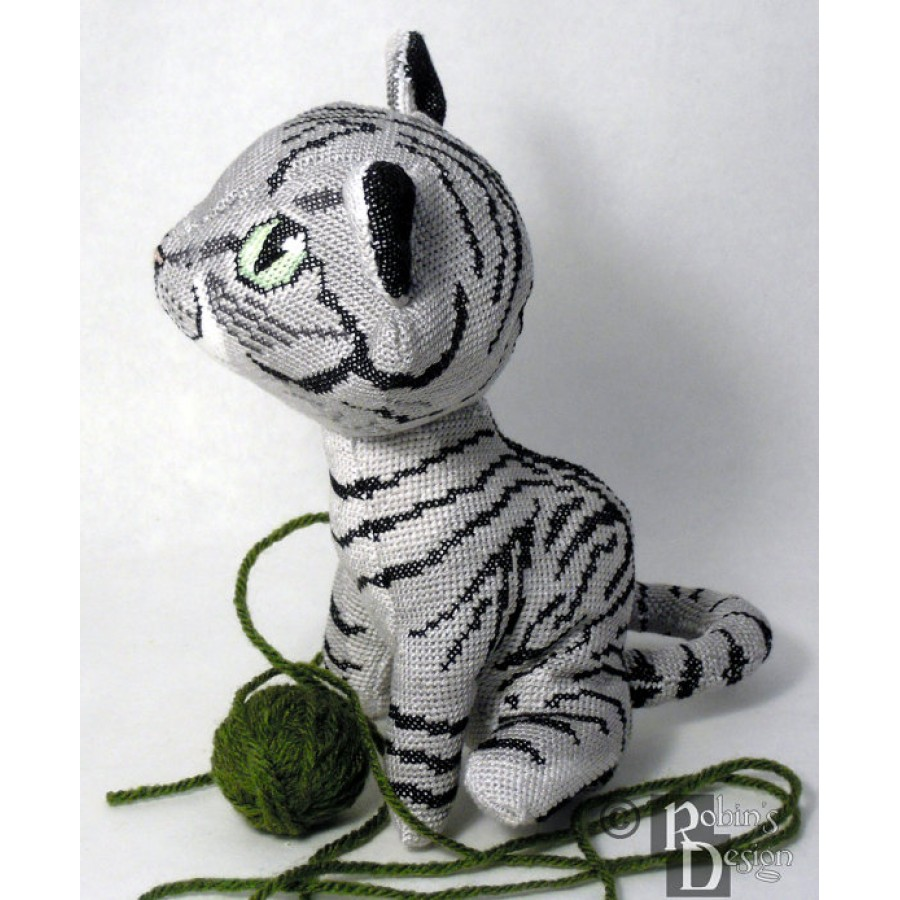 Demelza the Mackerel Tabby Cat Doll 3D Cross Stitch Animal Sewing Pattern PDF