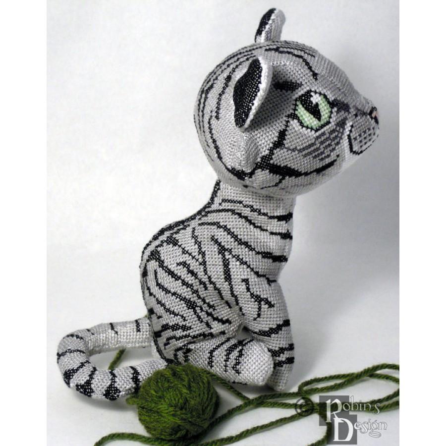 Demelza the Brownish Gray Mackerel Tabby Cat Doll 3D Cross Stitch Animal Sewing Pattern PDF Download
