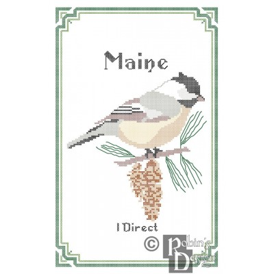 Maine State Bird, Flower and Motto Cross Stitch Pattern PDF