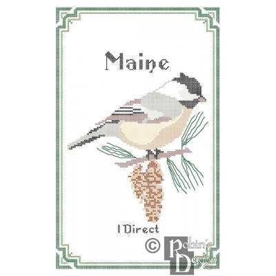 Maine State Bird, Flower and Motto Cross Stitch Pattern PDF Download