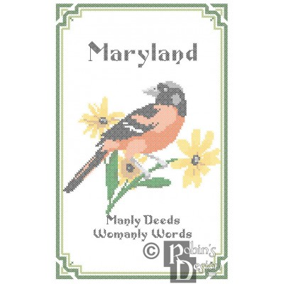 Maryland State Bird, Flower and Motto Cross Stitch Pattern PDF