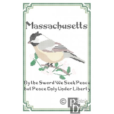 Massachusetts State Bird, Flower and Motto Cross Stitch Pattern PDF