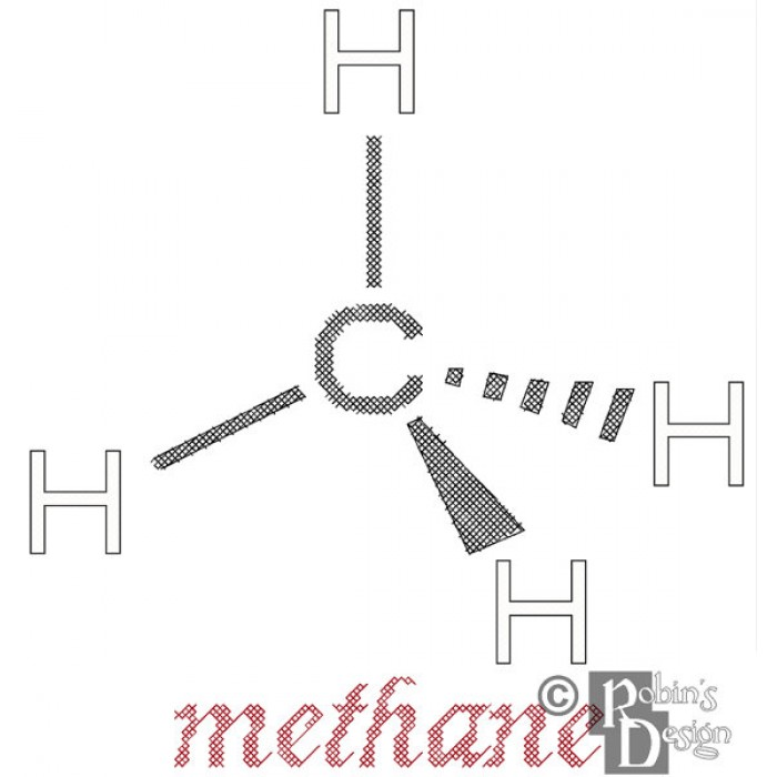 Methane Molecule Cross Stitch Pattern PDF