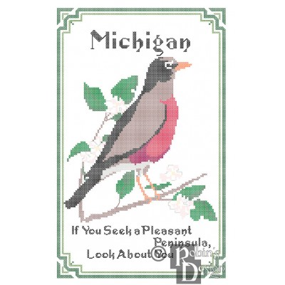 Michigan State Bird, Flower and Motto Cross Stitch Pattern PDF