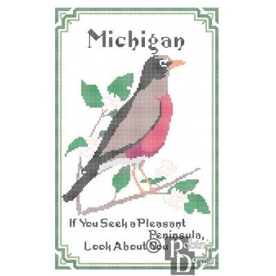 Michigan State Bird, Flower and Motto Cross Stitch Pattern PDF Download
