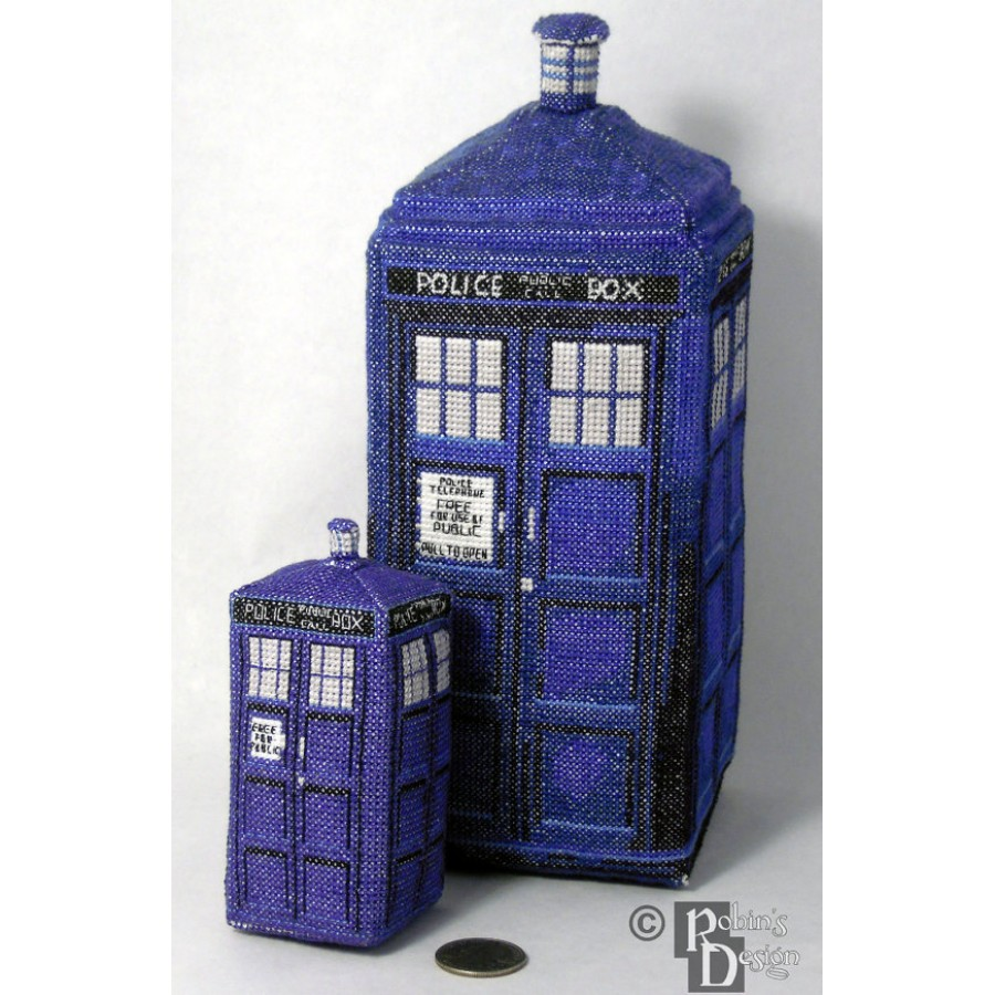 Mini Tardis in 3D Cross Stitch Sewing Pattern PDF