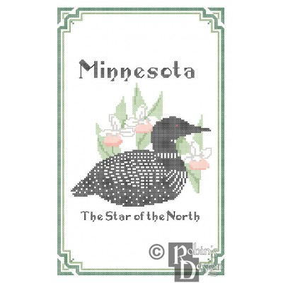 Minnesota State Bird, Flower and Motto Cross Stitch Pattern PDF