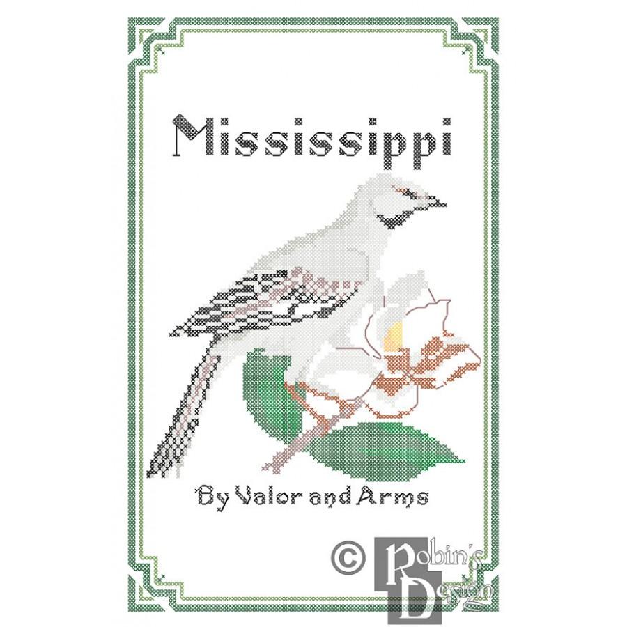 Mississippi State Bird Flower And Motto Cross Stitch Pattern PDF