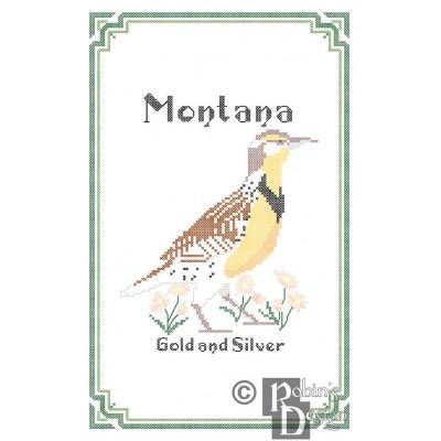 Montana State Bird, Flower and Motto Cross Stitch Pattern PDF Download