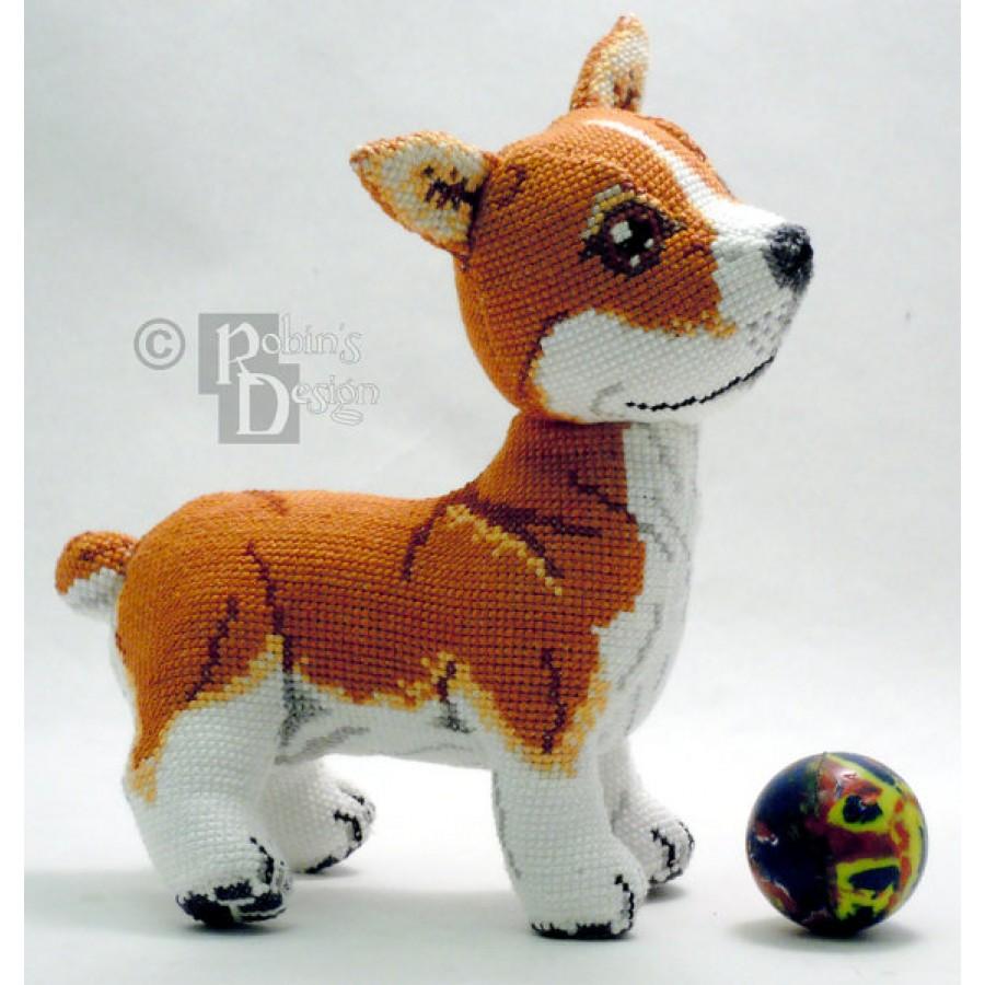 Monty the Pembroke Welsh Corgi Doll 3D Cross Stitch Animal Sewing Pattern PDF Download