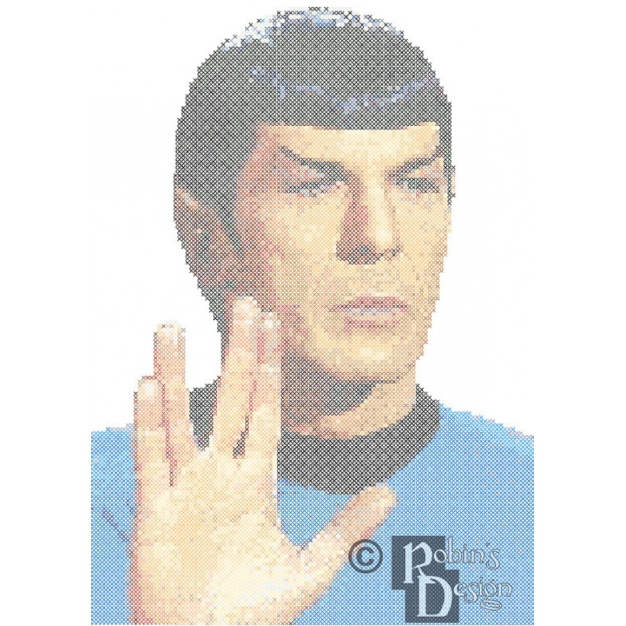 Mr. Spock Vulcan Salute Cross Stitch Pattern PDF