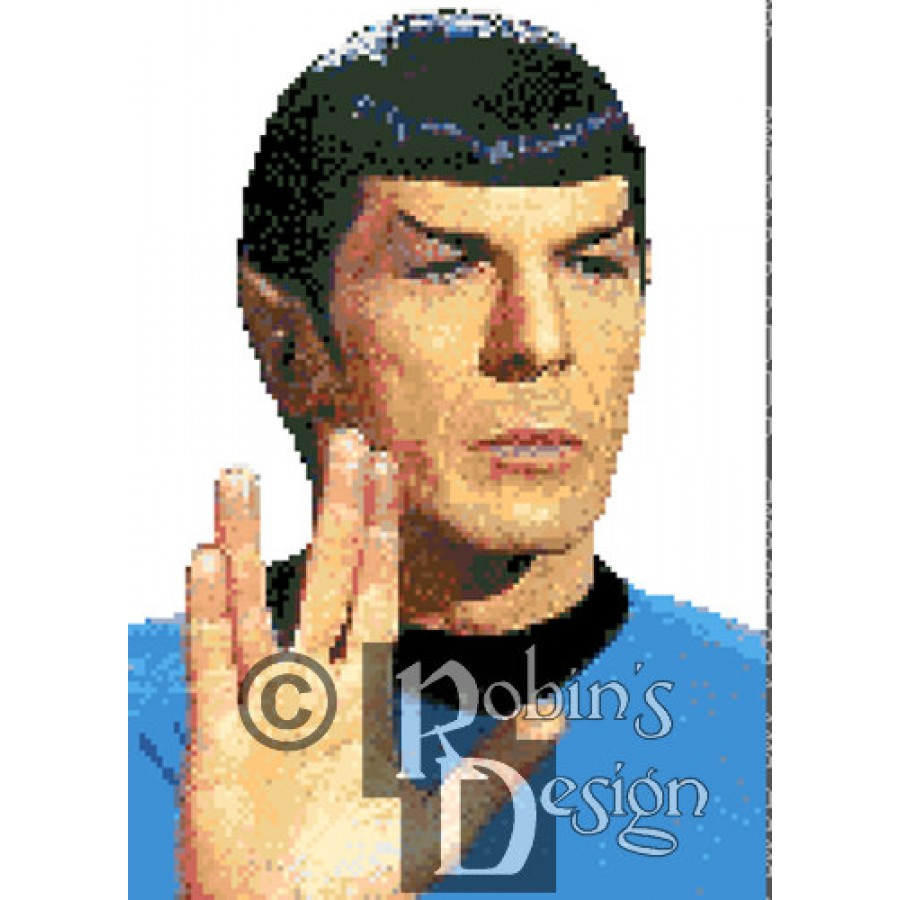 Mr. Spock Vulcan Salute Cross Stitch Pattern PDF