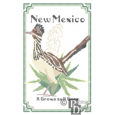 New Mexico State Bird, Flower and Motto Cross Stitch Pattern PDF