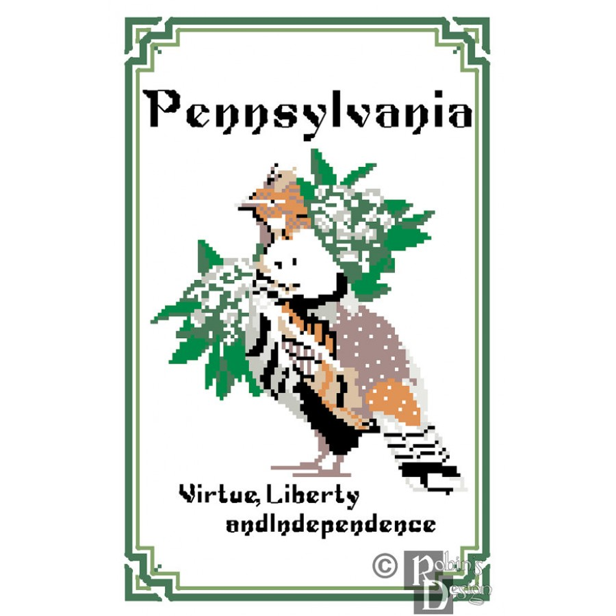 pennsylvania state bird flower and motto cross stitch pattern pdf
