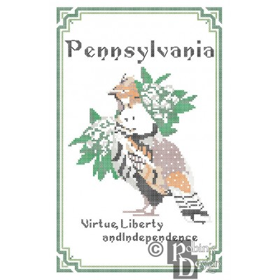 Pennsylvania State Bird, Flower and Motto Cross Stitch Pattern PDF