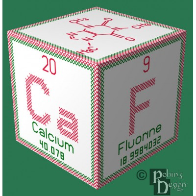 Periodic Element Caffeine 3D Ornament Cross Stitch Sewing Pattern PDF