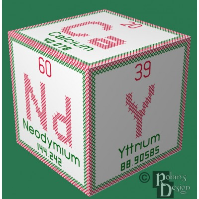 Periodic Element Candy 3D Ornament Cross Stitch Sewing Pattern PDF