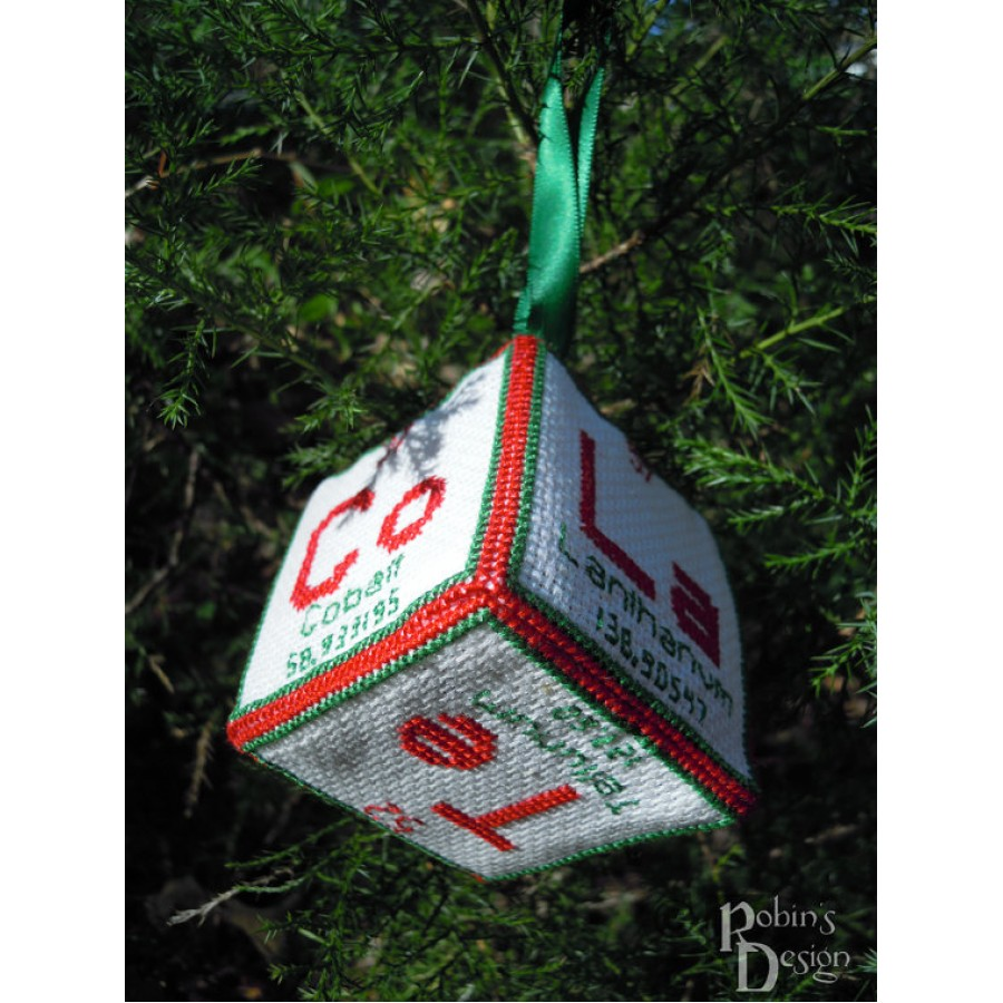 Periodic Element Ho Ho Ho 3D Ornament Cross Stitch Sewing Pattern PDF