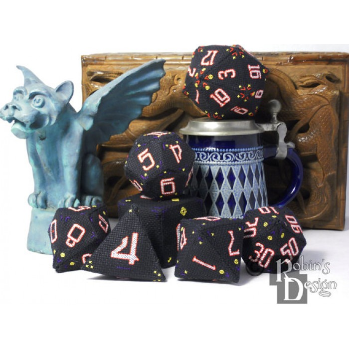 RPG Dice Set of Seven 3D Cross Stitch Sewing Patterns PDF Download