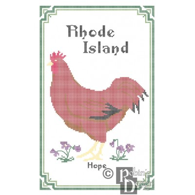 Rhode Island State Bird, Flower and Motto Cross Stitch Pattern PDF