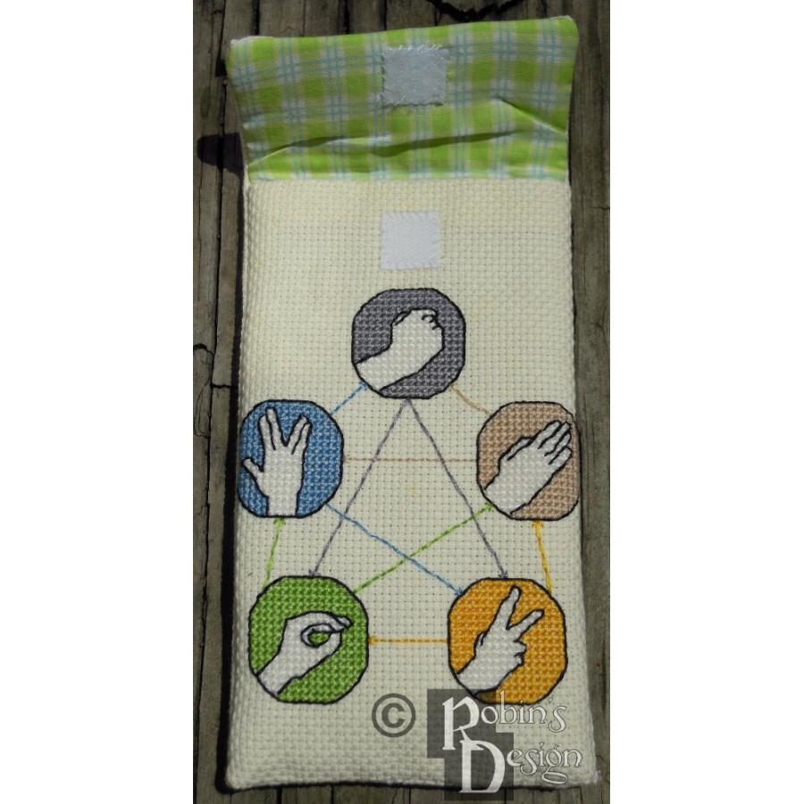 Rock, Paper, Scissors, Lizard, Spock Electronics/Phone Case Cross Stitch Sewing Pattern PDF