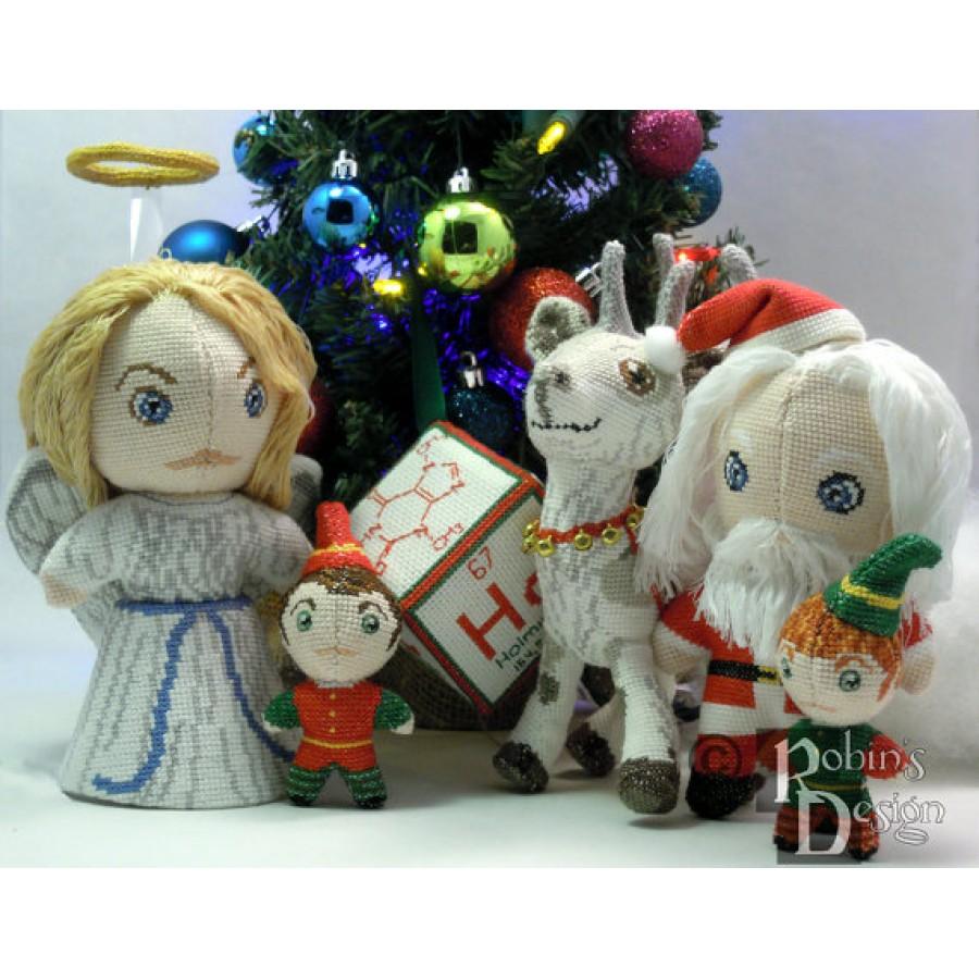 Santa's Elves Dolls 3D Two Cross Stitch Sewing Patterns PDF