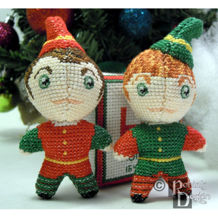 Santa's Elves Dolls 3D Two Cross Stitch Sewing Patterns PDF