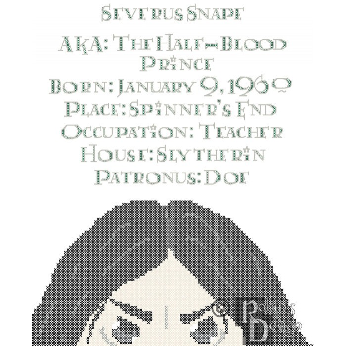 Severus Snape Biographical Facts Cross Stitch Pattern PDF