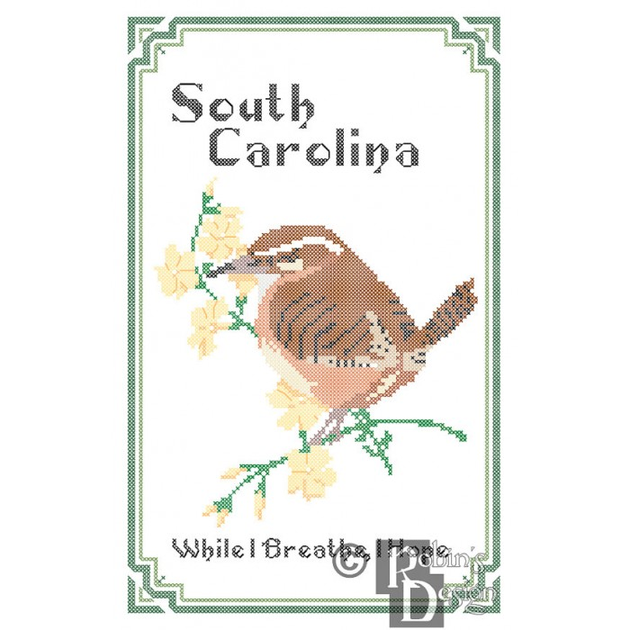 South Carolina State Bird, Flower and Motto Cross Stitch Pattern PDF