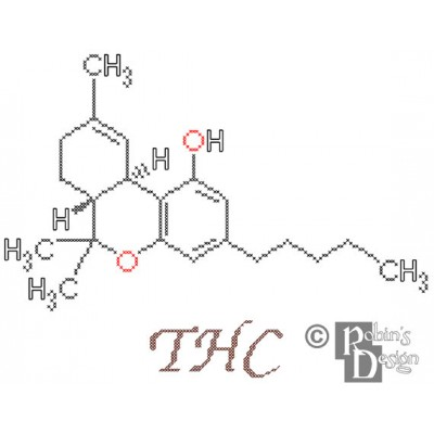 THC Molecule Cross Stitch Pattern PDF