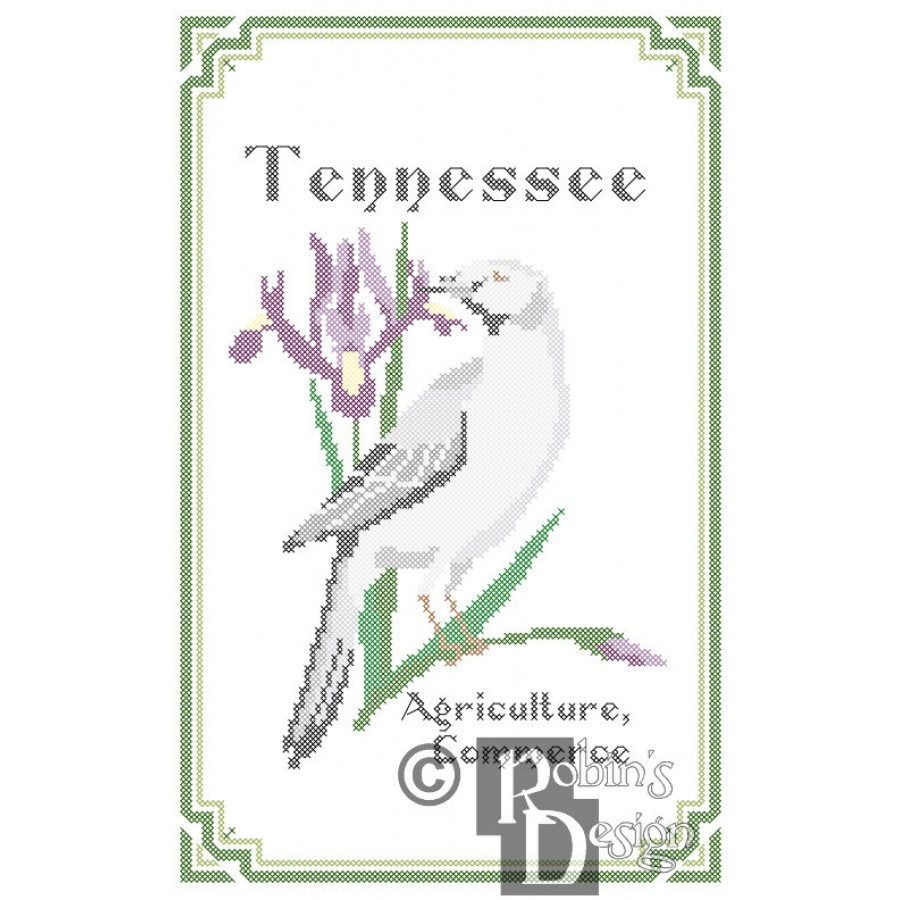 Tennessee State Bird, Flower and Motto Cross Stitch Pattern PDF