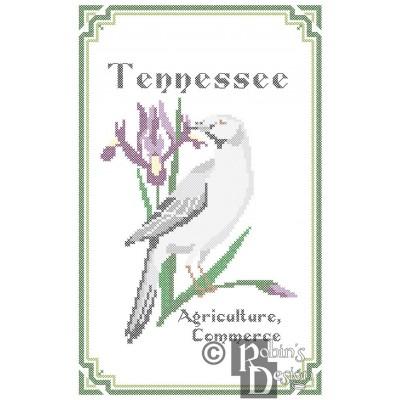 Tennessee State Bird, Flower and Motto Cross Stitch Pattern PDF