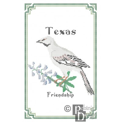 Texas State Bird, Flower and Motto Cross Stitch Pattern PDF