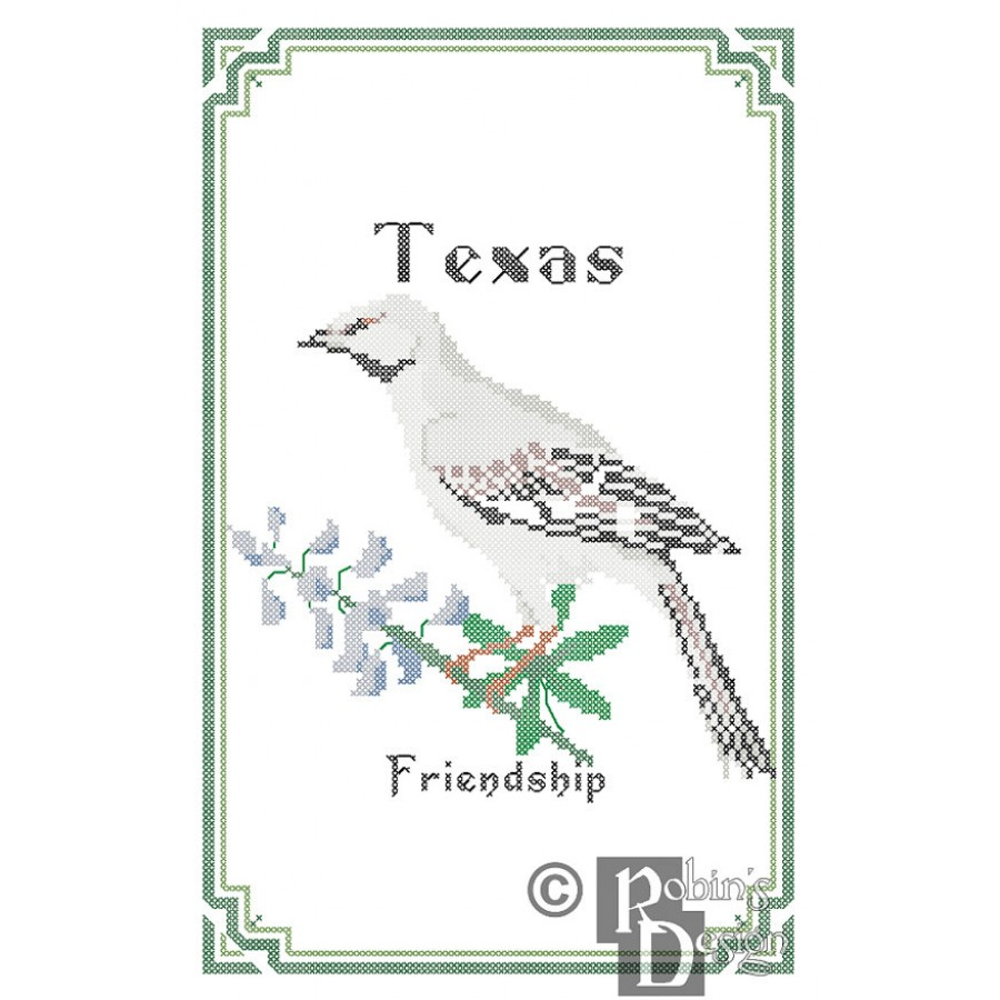 texas state bird flower and motto cross stitch pattern pdf
