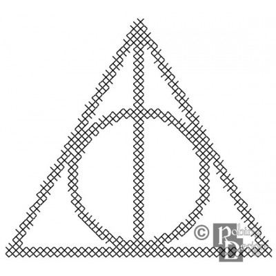 The Deathly Hallows Symbol for Shirt Patch Cross Stitch Pattern PDF Download