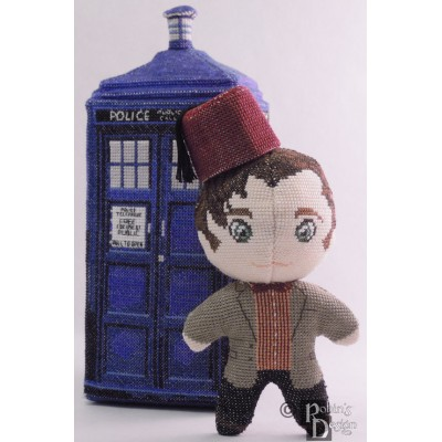 The Eleventh Doctor with Fez Doll 3D Cross Stitch Sewing Pattern PDF